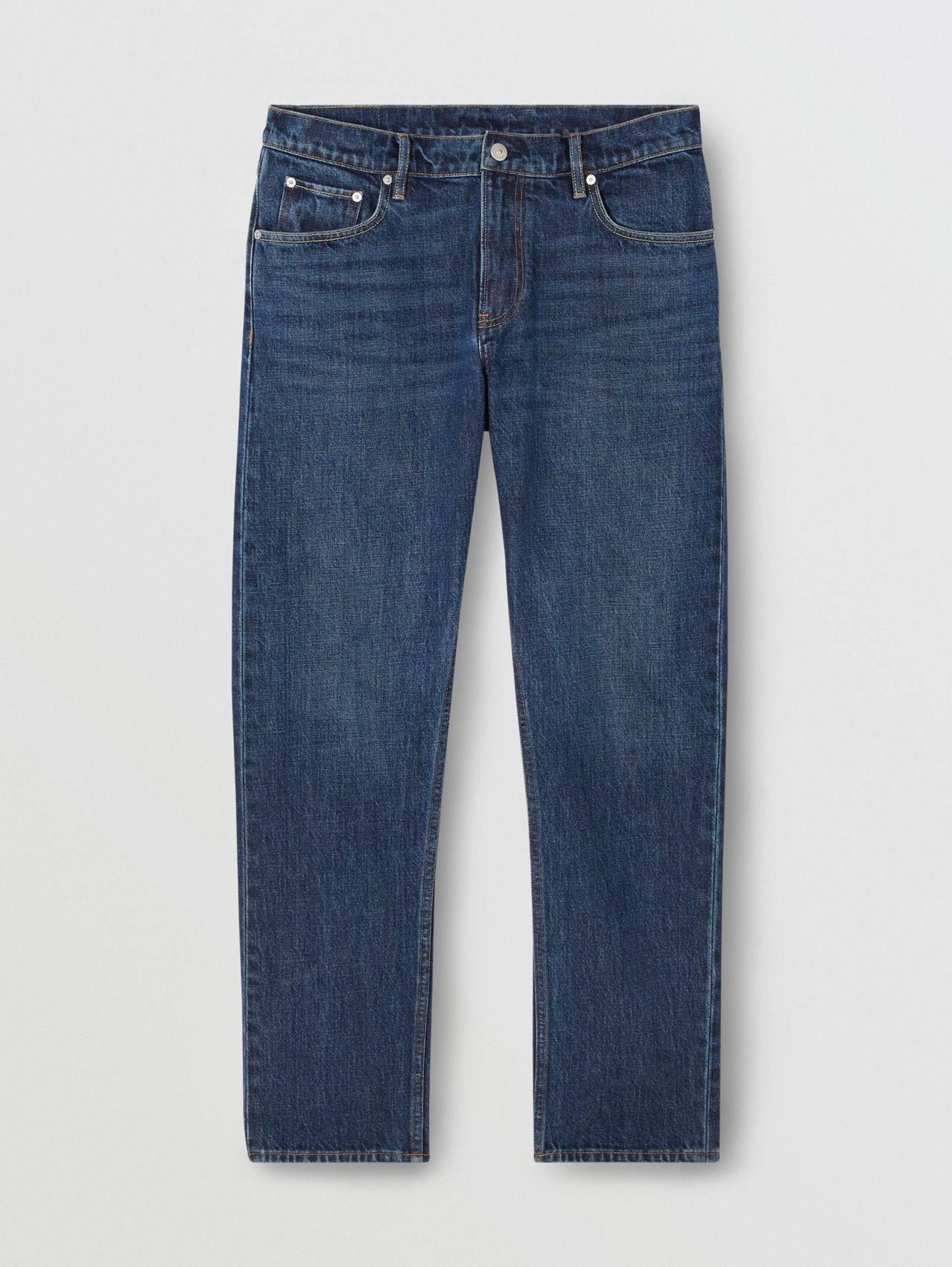 Straight Fit Washed Jeans in Dark Indigo