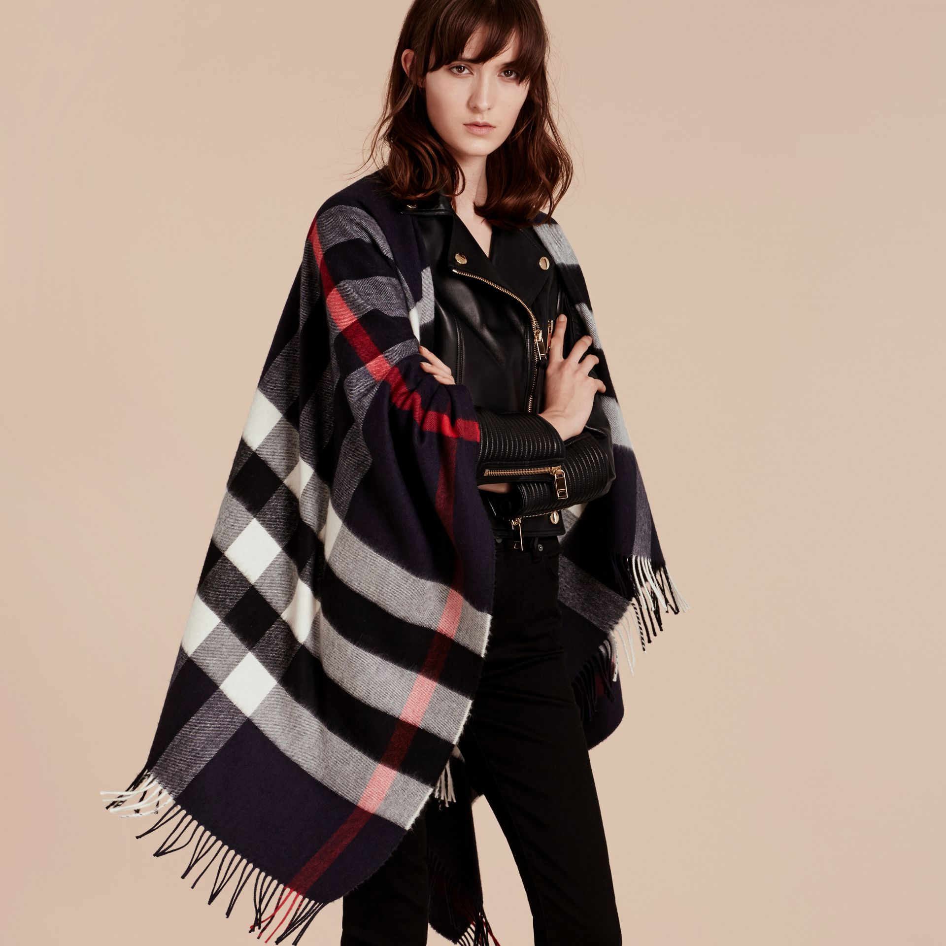 Navy Check Cashmere and Wool Poncho Navy - gallery image 1