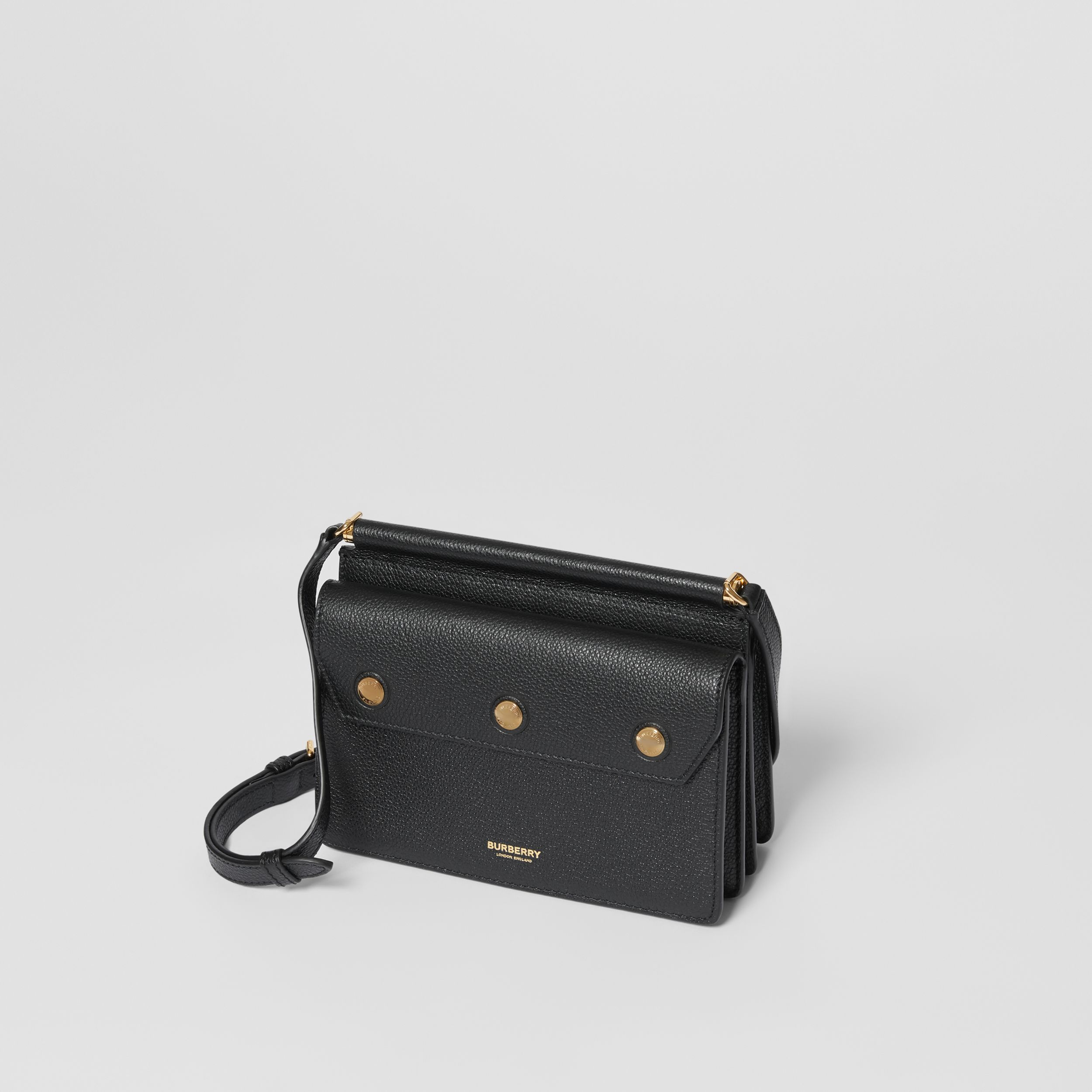Mini Leather Title Bag with Pocket Detail in Black - Women | Burberry - 4