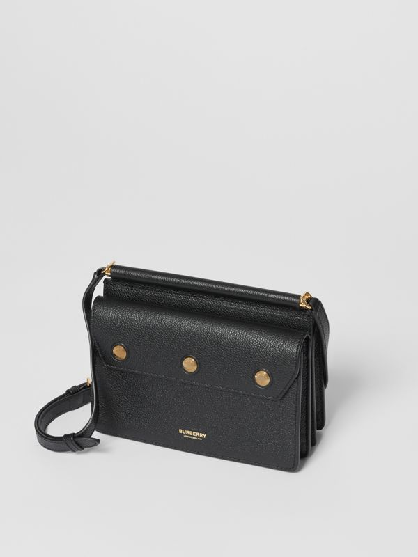 Mini Leather Title Bag with Pocket Detail in Black - Women | Burberry - cell image 3