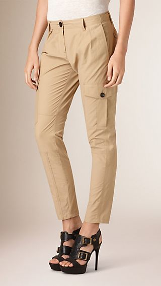 Utility Detail Cotton Blend Trousers