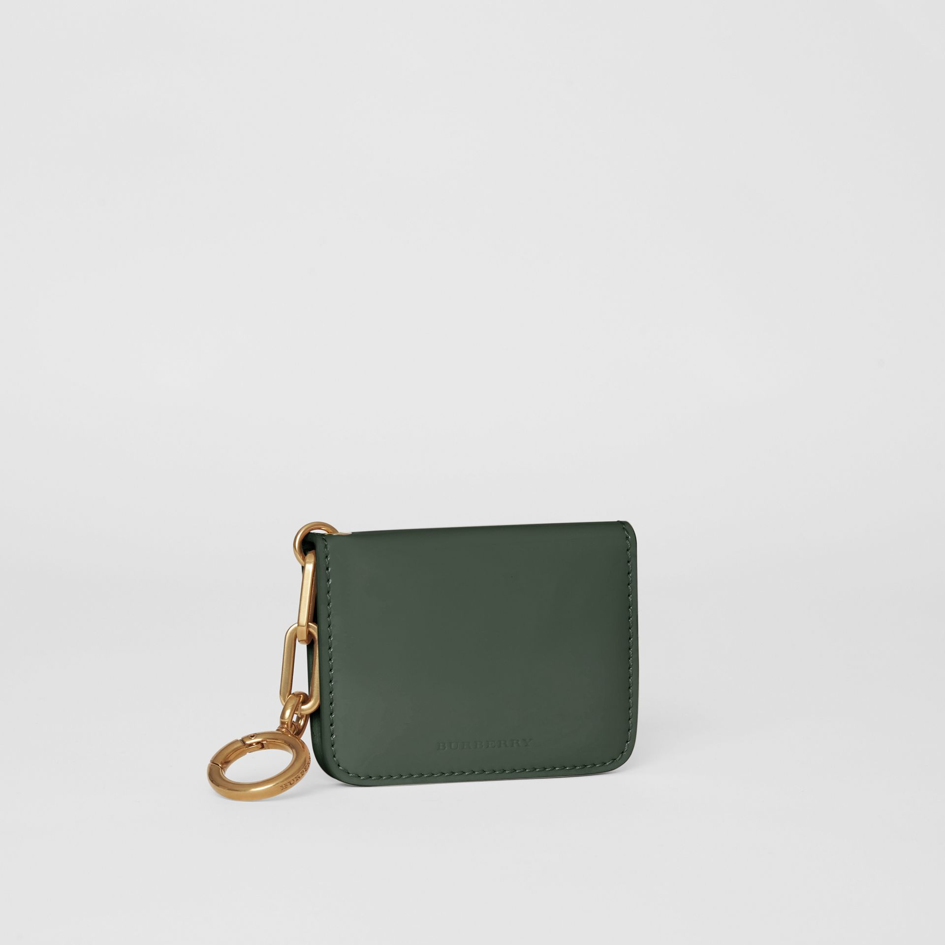 Link Detail Patent Leather ID Card Case Charm in Dark Forest Green - Women | Burberry United States - gallery image 4