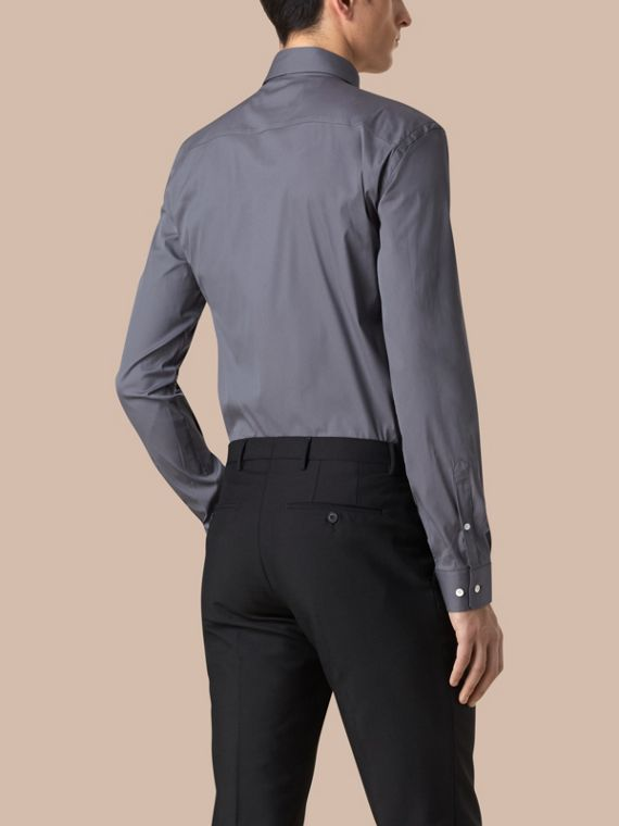 Modern Fit Stretch Cotton Shirt in City Grey - cell image 2