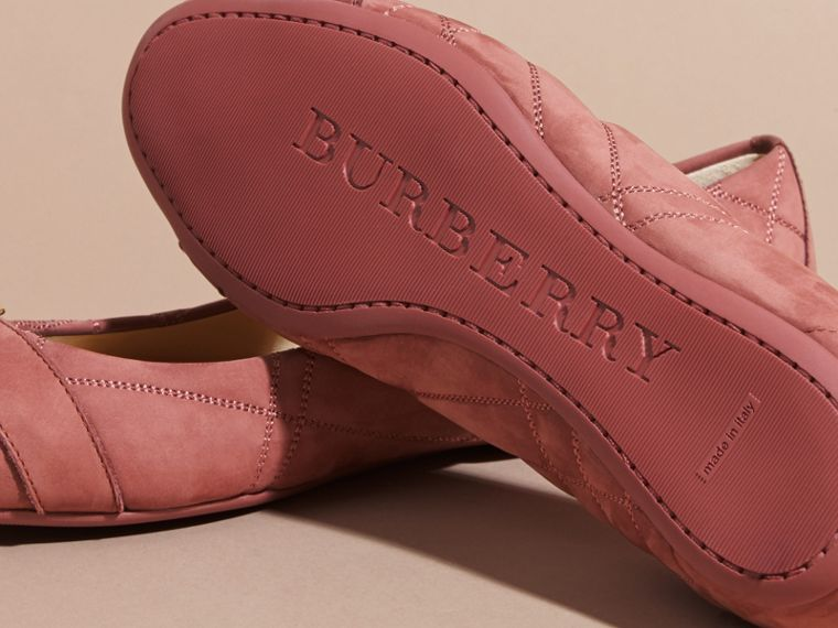 Buckle Detail Quilted Suede Ballerinas Antique Pink - cell image 4