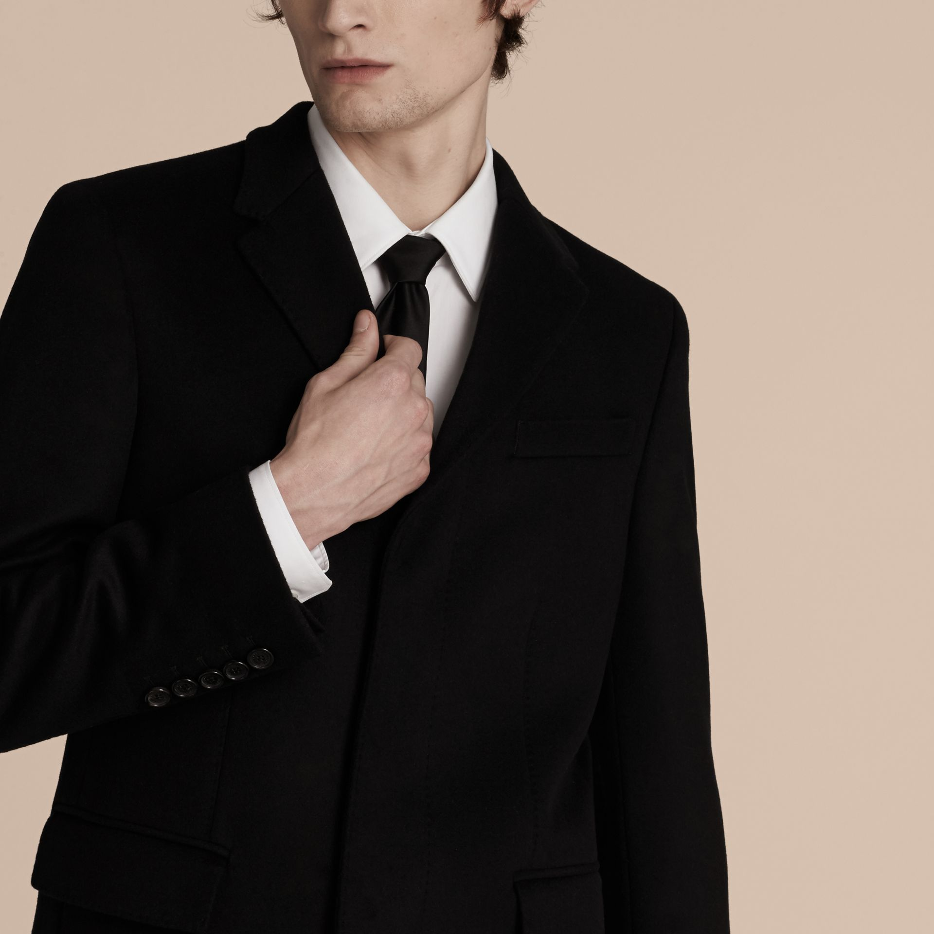 Black Wool Cashmere Tailored Coat Black - gallery image 6
