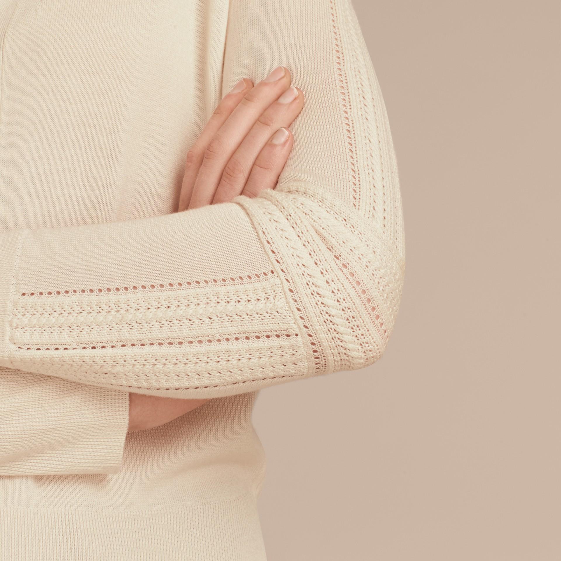 Blanc naturel Cardigan en laine et soie avec garnitures ajourées Blanc Naturel - photo de la galerie 5
