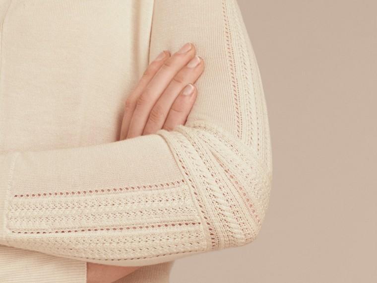 Blanc naturel Cardigan en laine et soie avec garnitures ajourées Blanc Naturel - cell image 4
