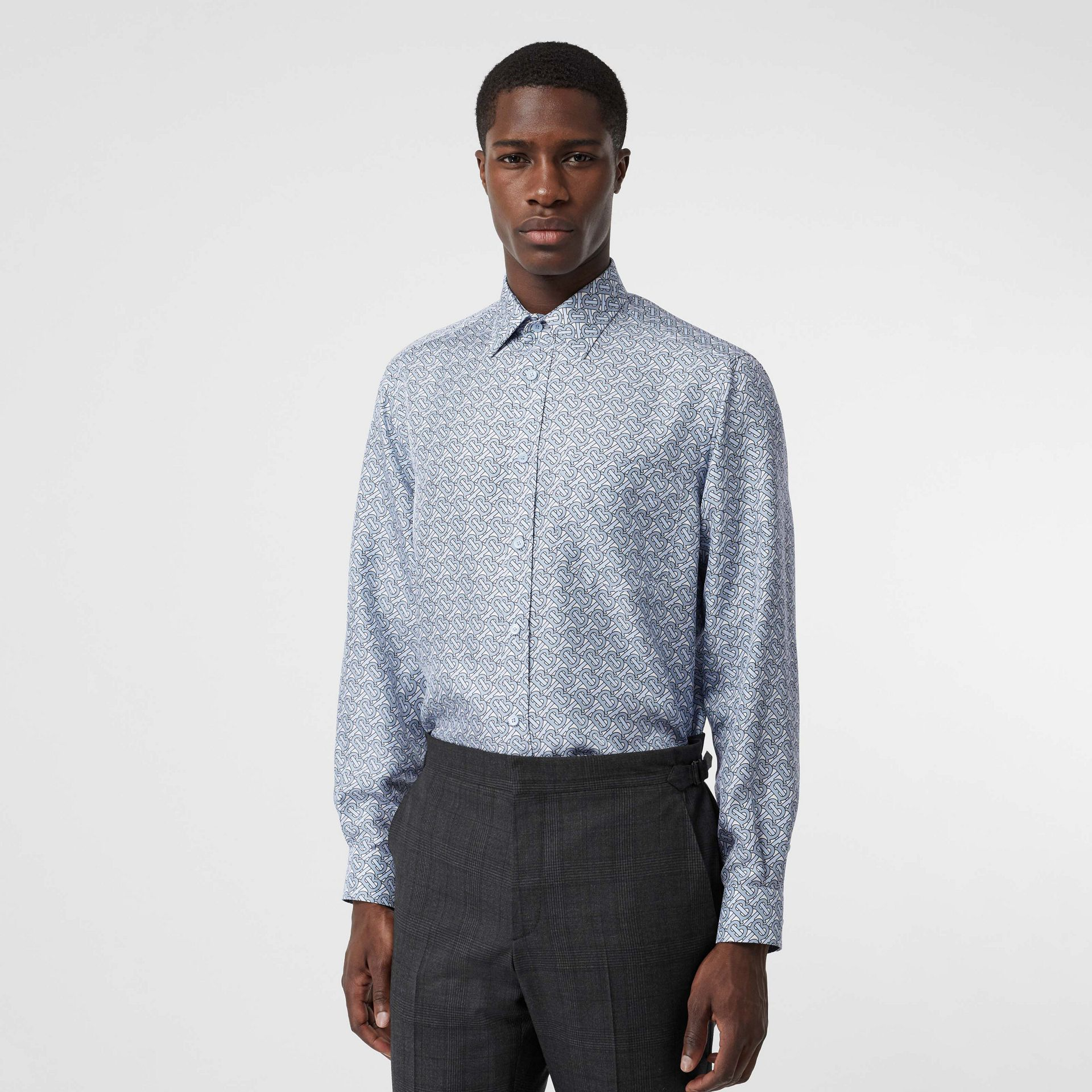 Classic Fit Monogram Print Silk Twill Shirt in Pale Blue - Men | Burberry United States - gallery image 0