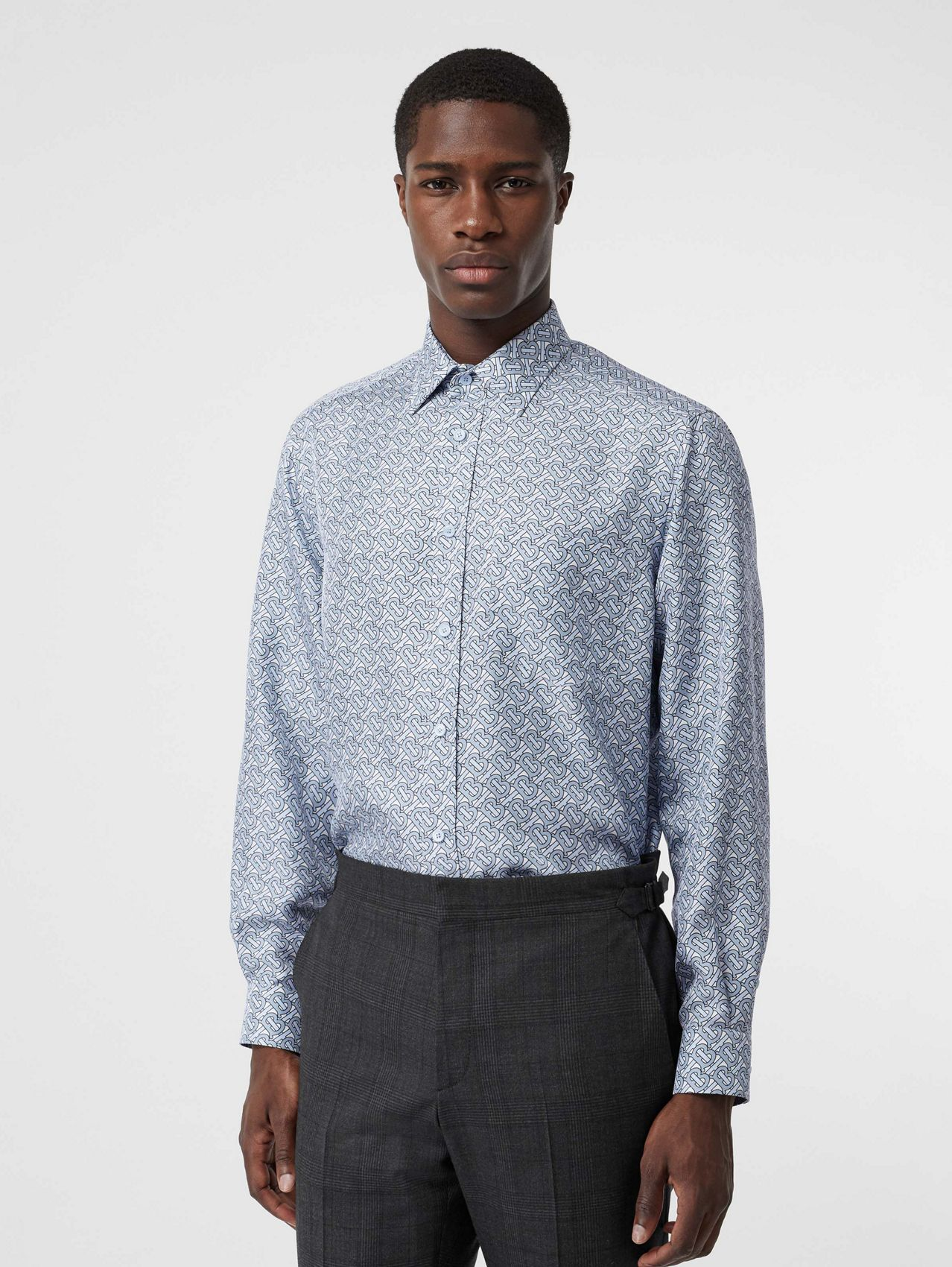 Classic Fit Monogram Print Silk Twill Shirt in Pale Blue