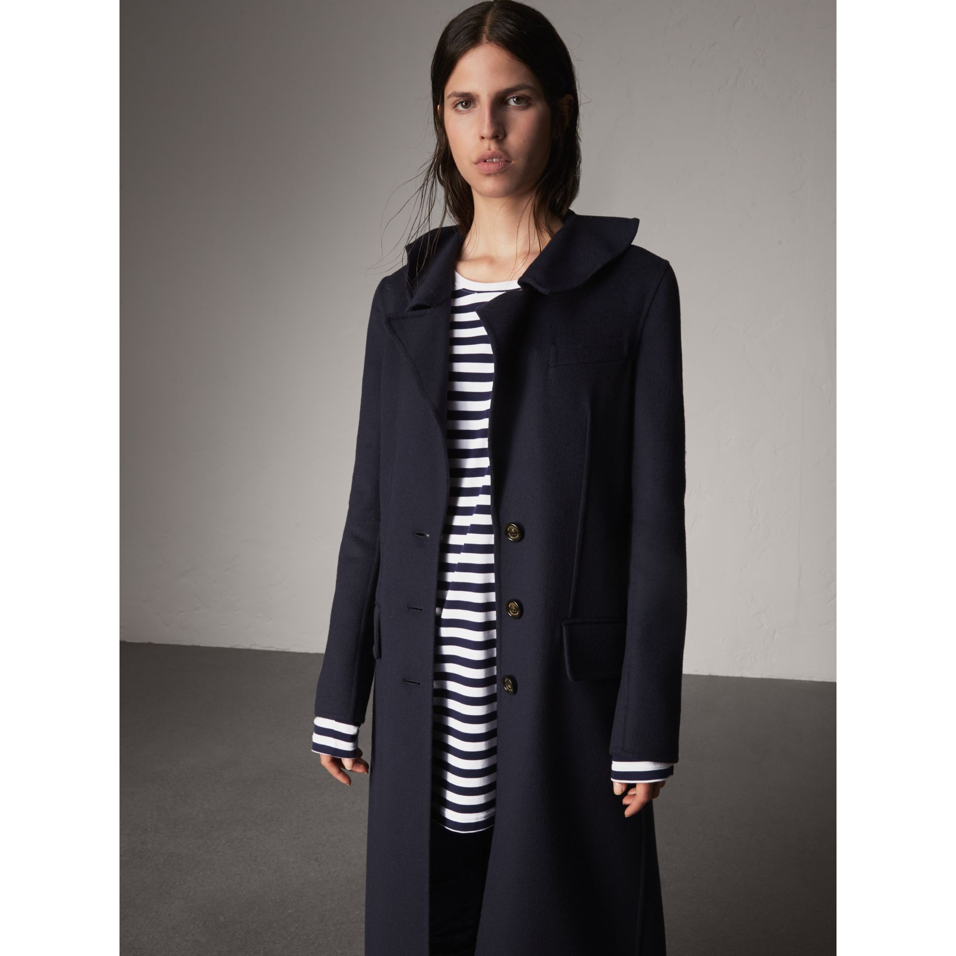 Ruffled Collar Wool Cashmere Coat in Navy - Women | Burberry - gallery image 6