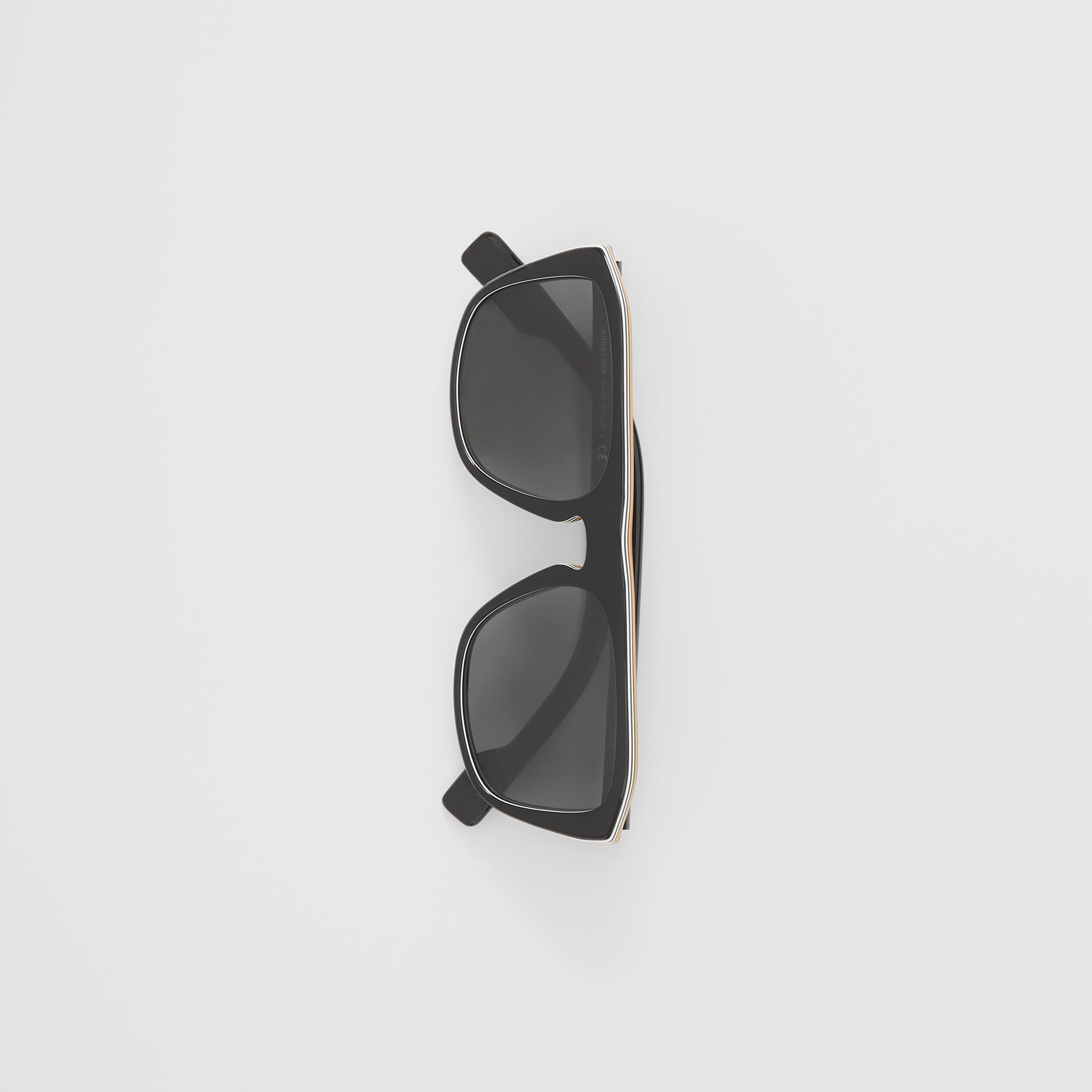 Icon Stripe Detail Square Frame Sunglasses in Black - Men | Burberry Hong Kong S.A.R. - 4