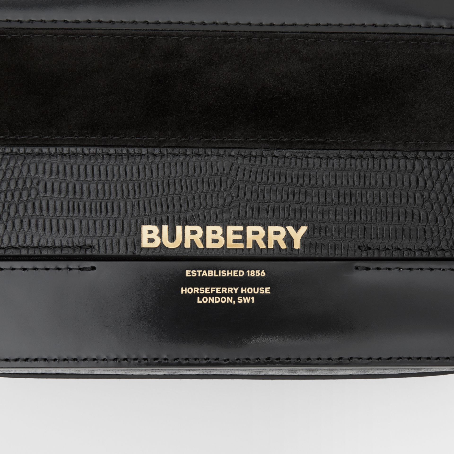 Small Panelled Deerskin and Suede Grace Bag in Black - Women | Burberry - gallery image 6