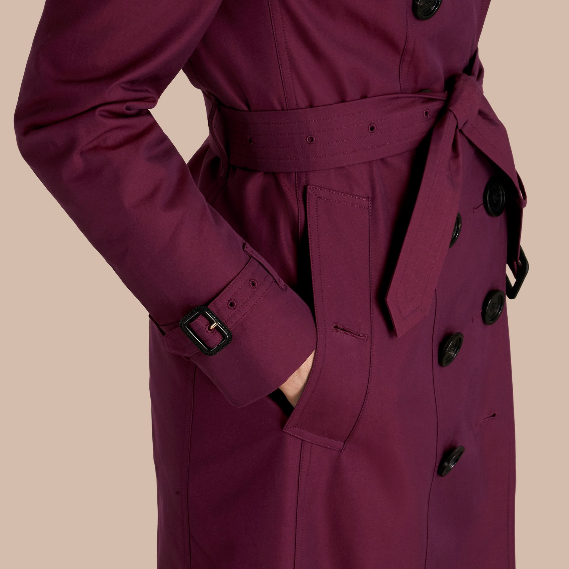 Crimson Cotton Gabardine Trench Coat with Detachable Fur Trim Crimson - gallery image 6