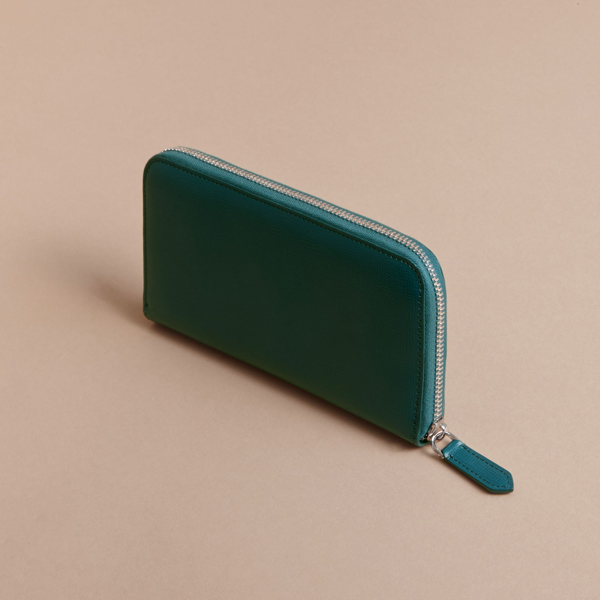 London Leather Ziparound Wallet Dark Teal - gallery image 4
