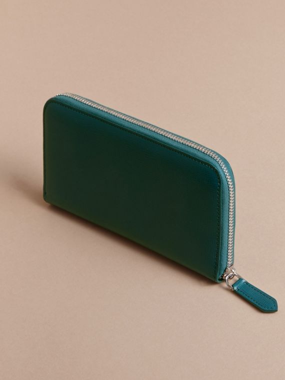London Leather Ziparound Wallet Dark Teal - cell image 3