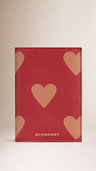 Heart Print Grainy Leather Passport Cover