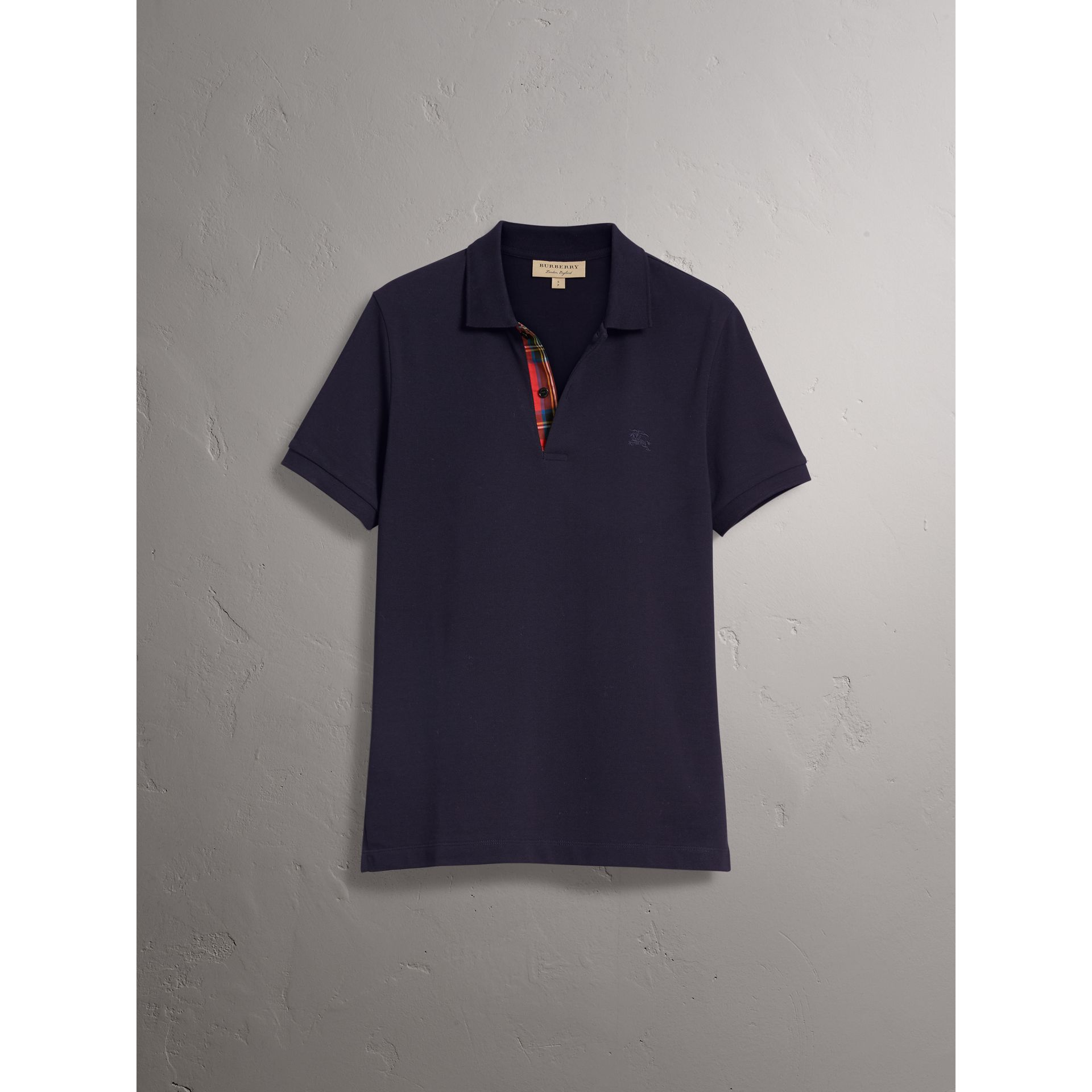 Tartan Trim Cotton Piqué Polo Shirt in Dark Navy - Men | Burberry - gallery image 3
