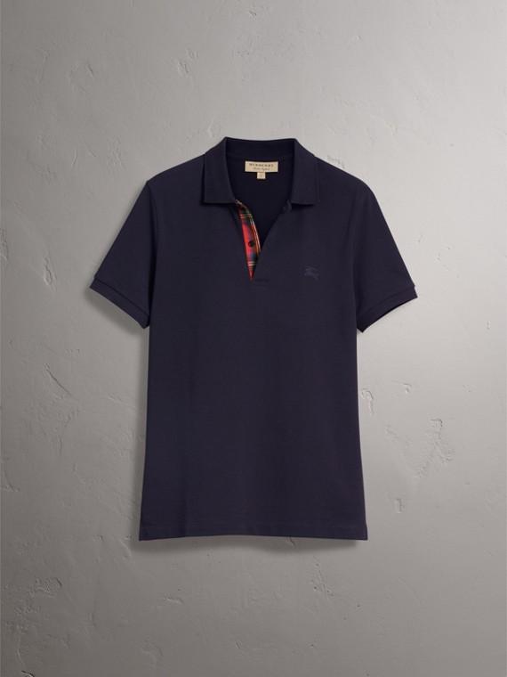 Tartan Trim Cotton Piqué Polo Shirt in Dark Navy - Men | Burberry - cell image 3