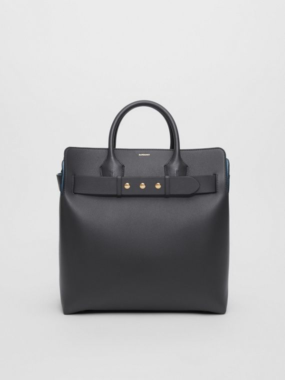 The Large Leather Triple Stud Belt Bag in Charcoal Grey