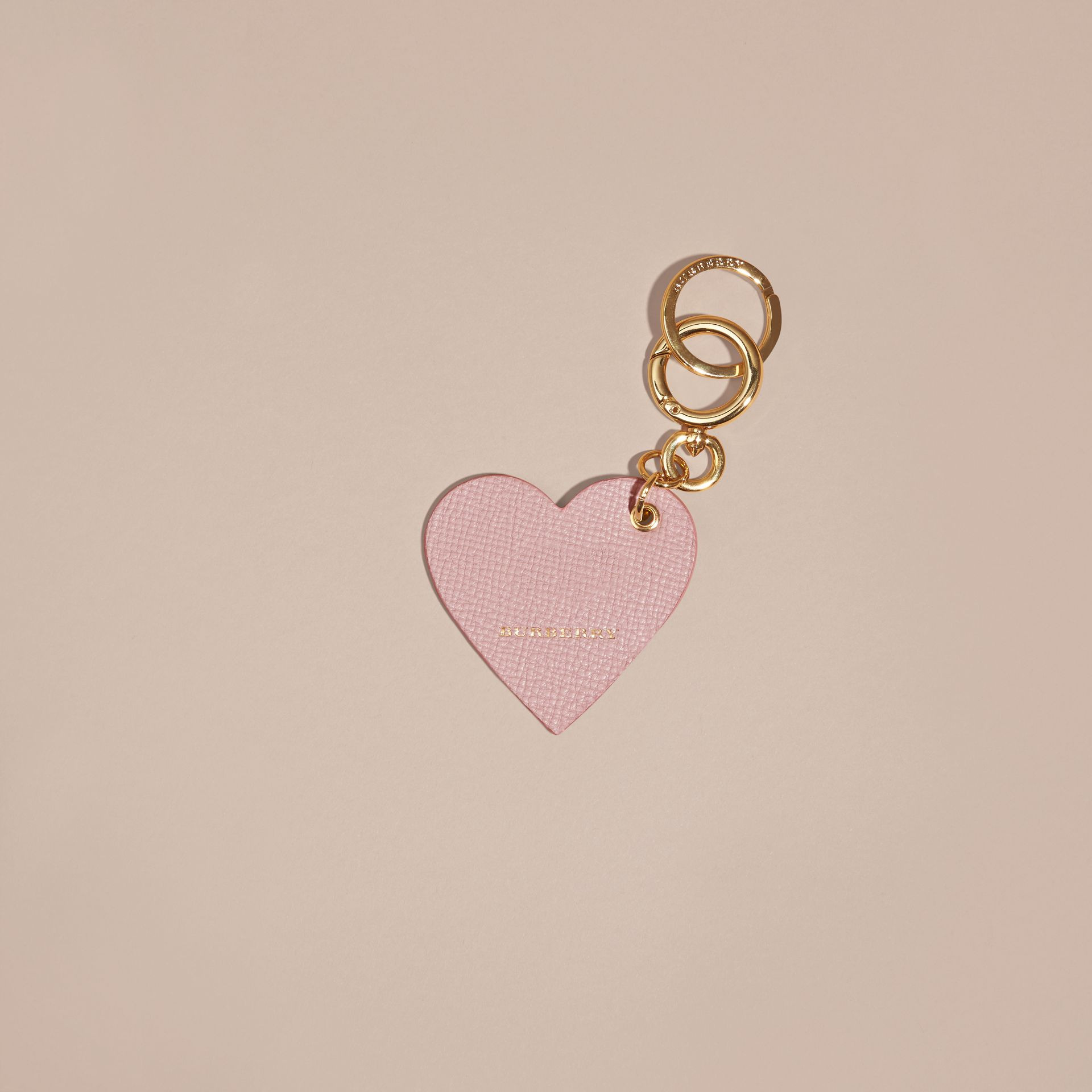 Pink / pink Sequinned Heart Suede Key Charm - gallery image 3