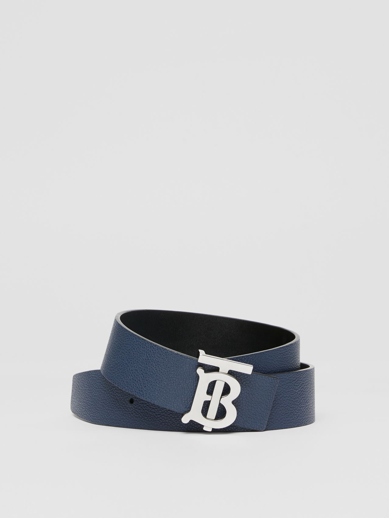 Reversible Monogram Motif Leather Belt (Navy/black)