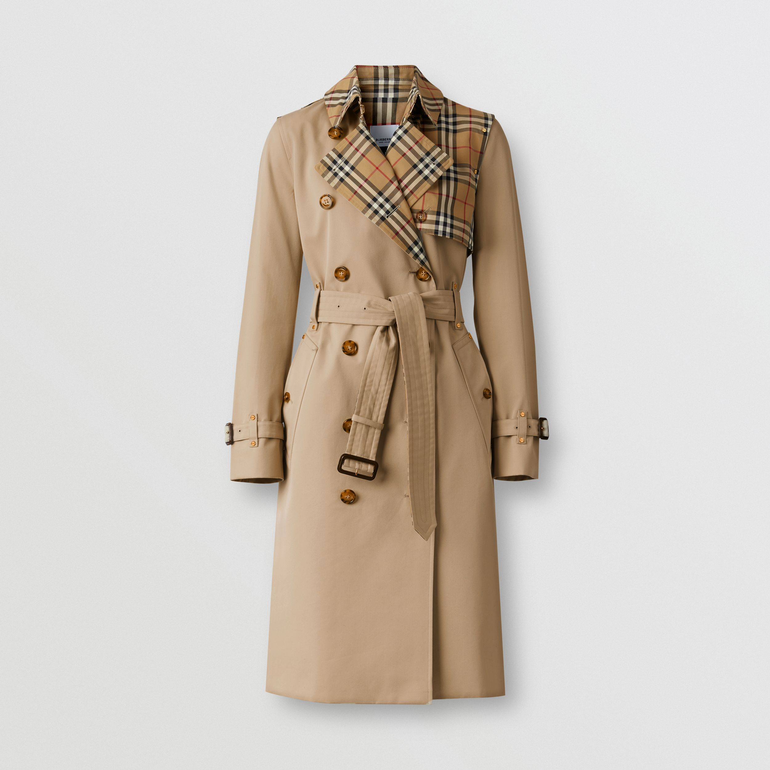 Vintage Check Panel Cotton Gabardine Trench Coat in Honey - Women | Burberry - 4
