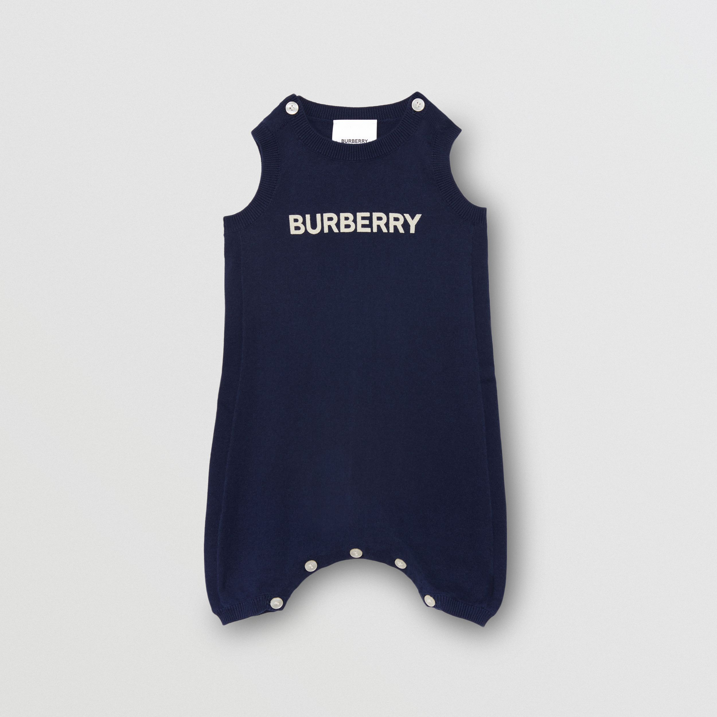 Logo Print Cotton Bodysuit in Indigo | Burberry - 1