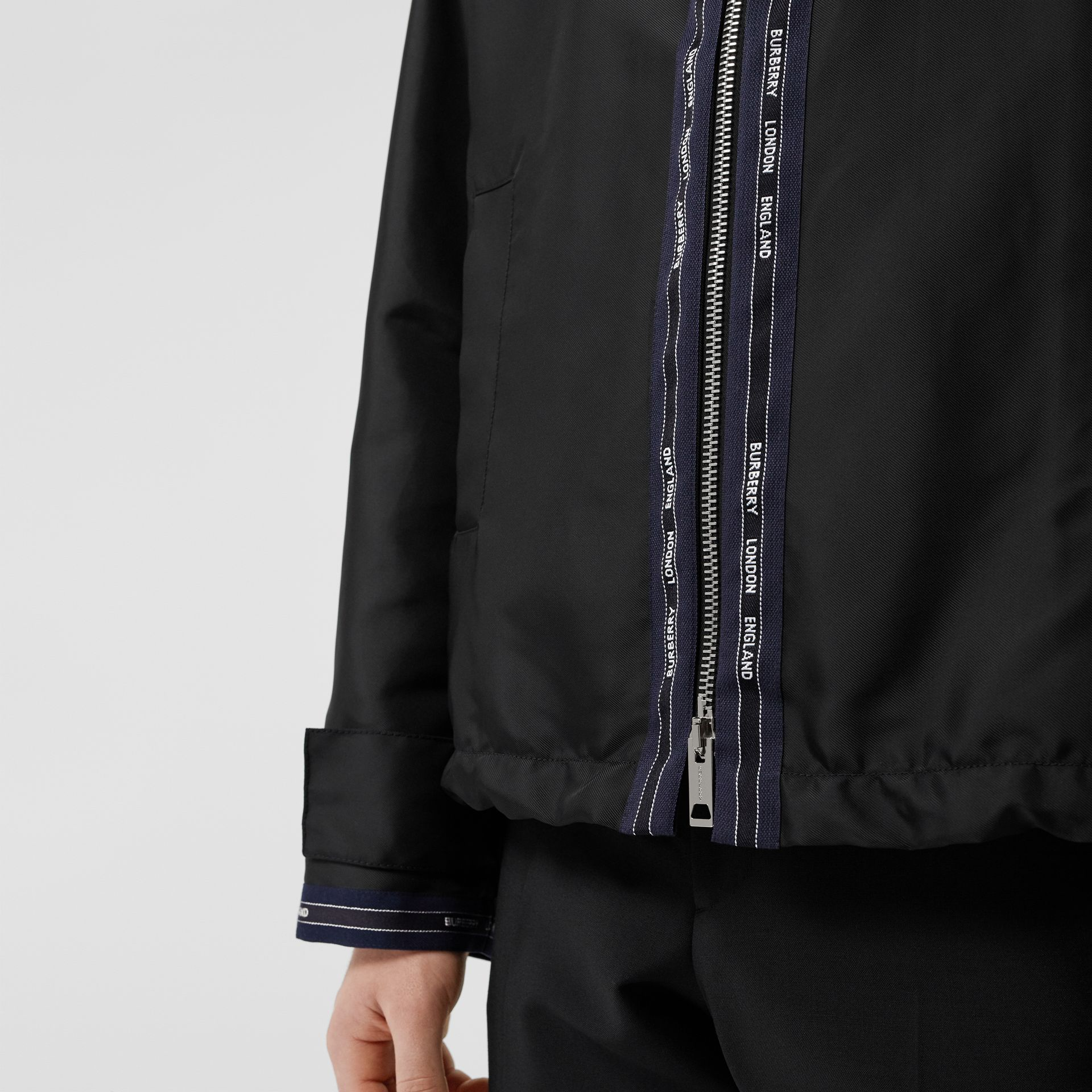 Logo Detail Nylon Hooded Jacket in Black | Burberry Australia - gallery image 4