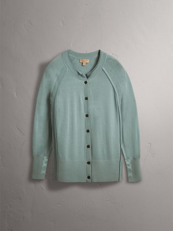 Open-knit Detail Cashmere Cardigan in Eucalyptus Green - Women | Burberry - cell image 3
