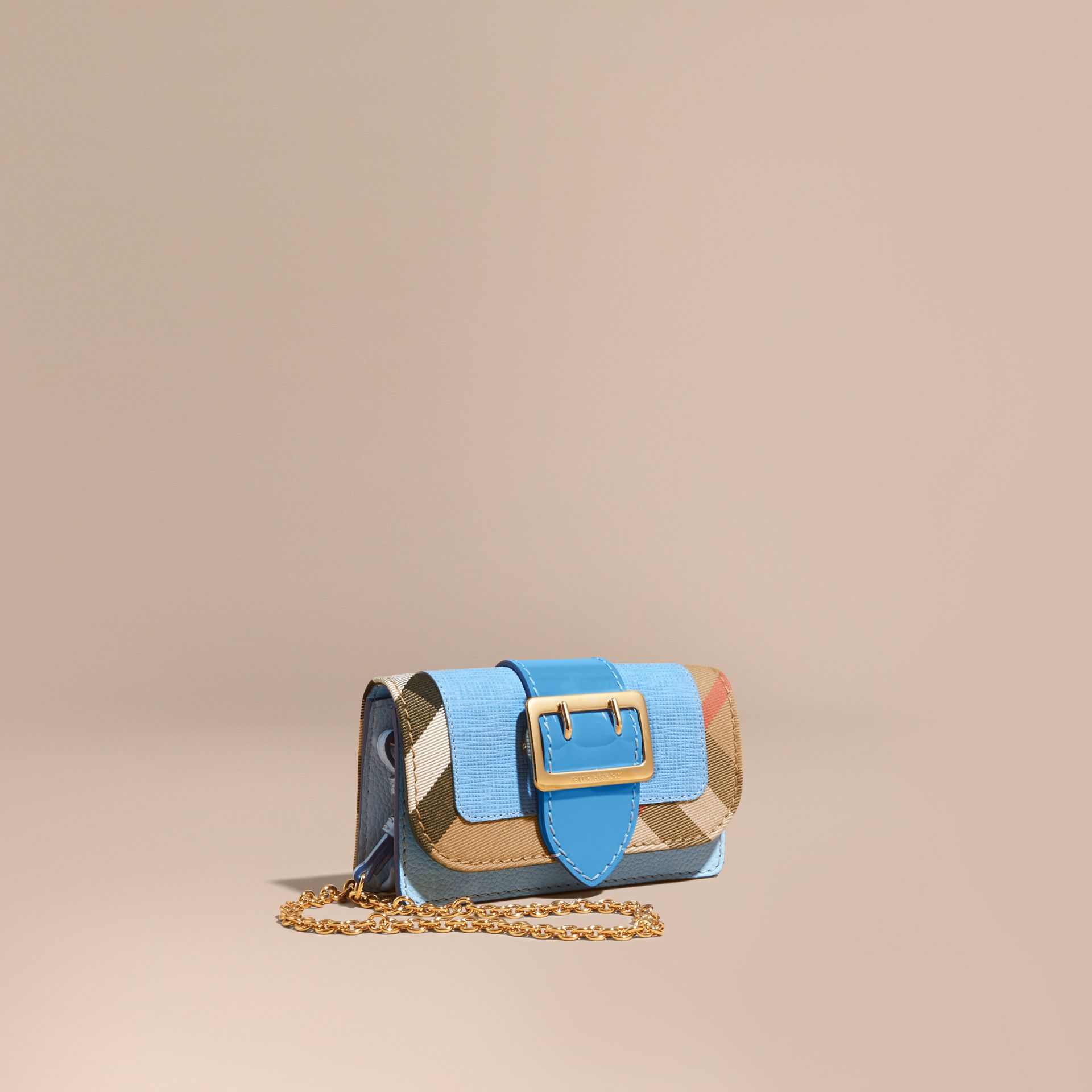 The Mini Buckle Bag in Leather and House Check - gallery image 1