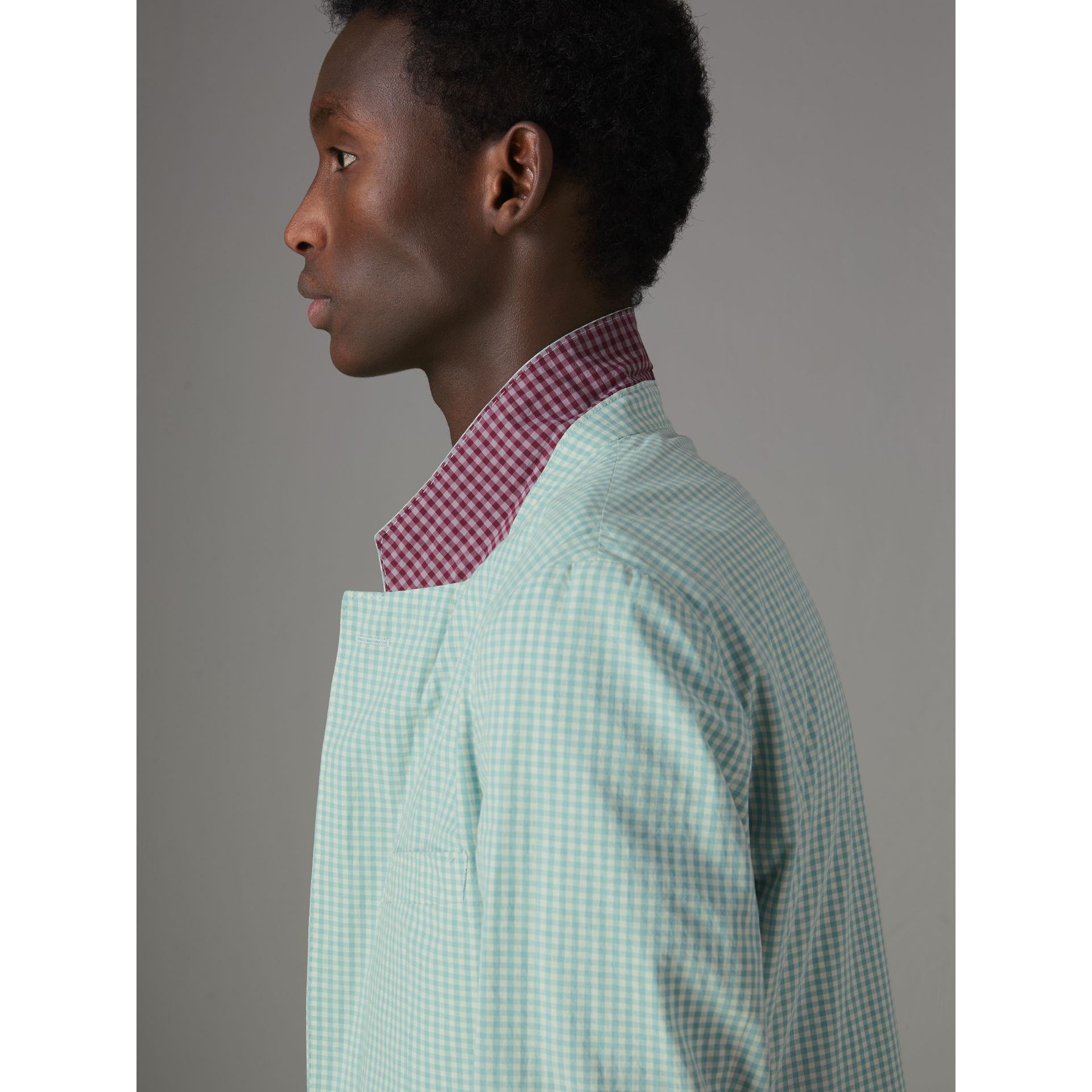 Slim Fit Gingham Cotton Tailored Jacket in Pale Opal - Men | Burberry - gallery image 4
