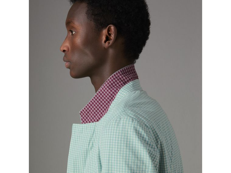 Slim Fit Gingham Cotton Tailored Jacket in Pale Opal - Men | Burberry - cell image 4