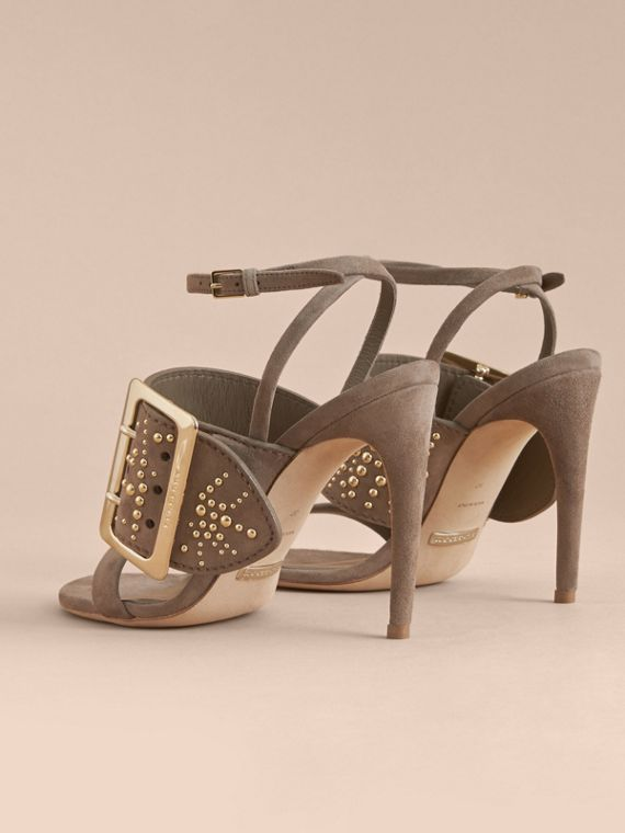 Riveted Suede Sandals with Buckle Detail in Dark Heather Melange - Women | Burberry - cell image 3
