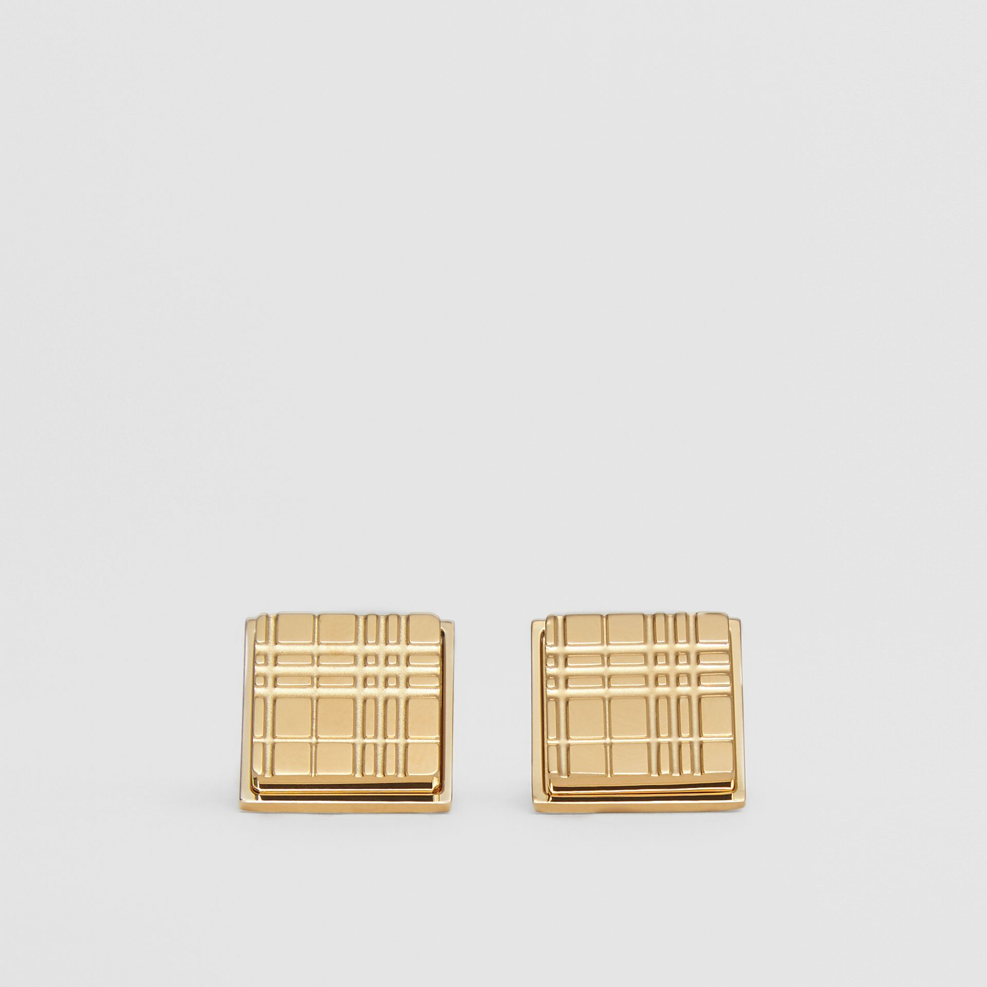 Gold-plated Check-engraved Square Cufflinks in Light - Men | Burberry - gallery image 0