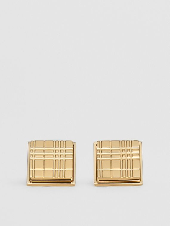 Gold-plated Check-engraved Square Cufflinks in Light