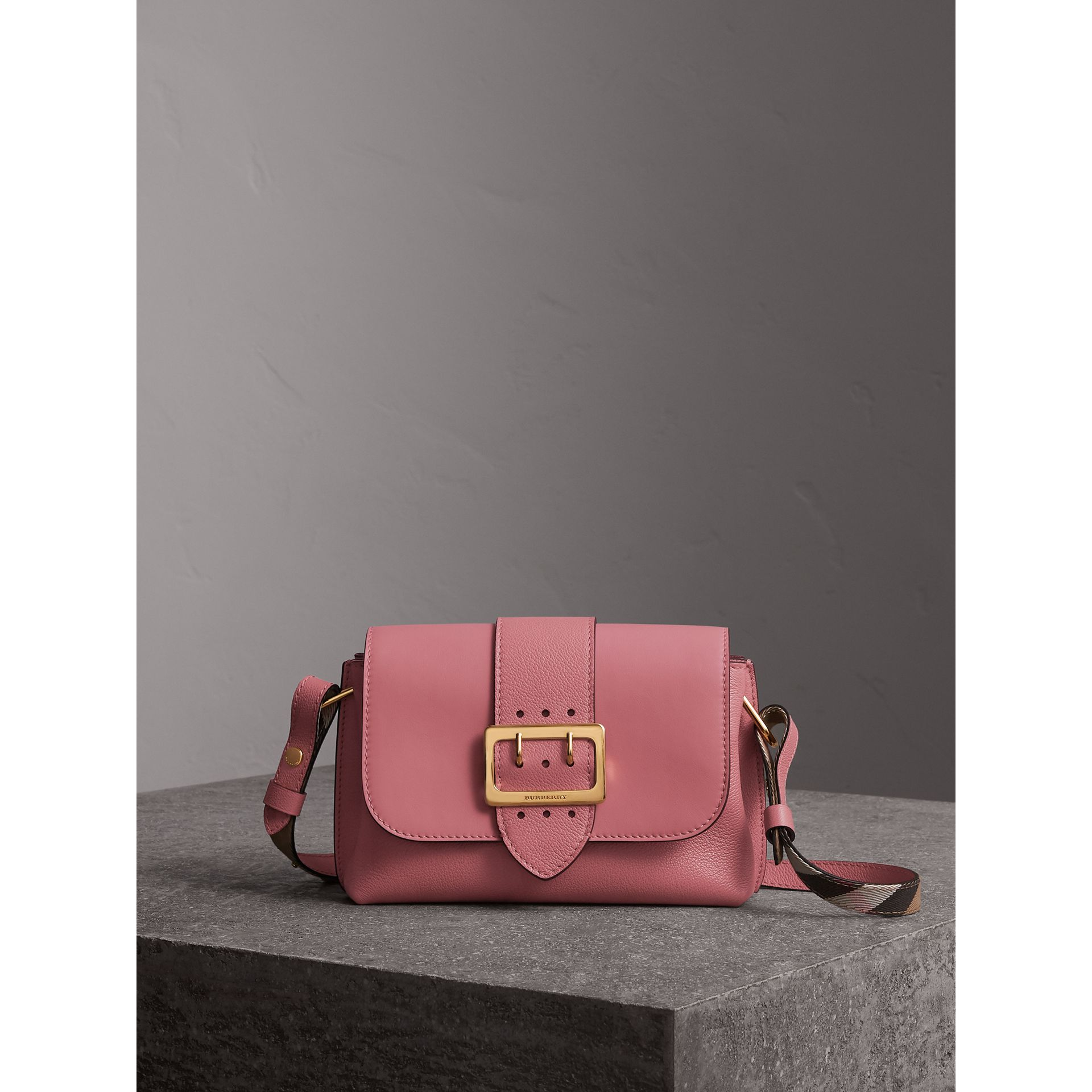 The Buckle Crossbody Bag in Leather in Dusty Pink - Women | Burberry - gallery image 1