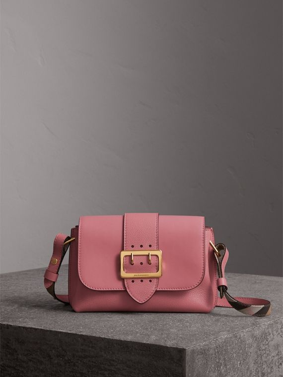 The Buckle Crossbody Bag in Leather in Dusty Pink - Women | Burberry