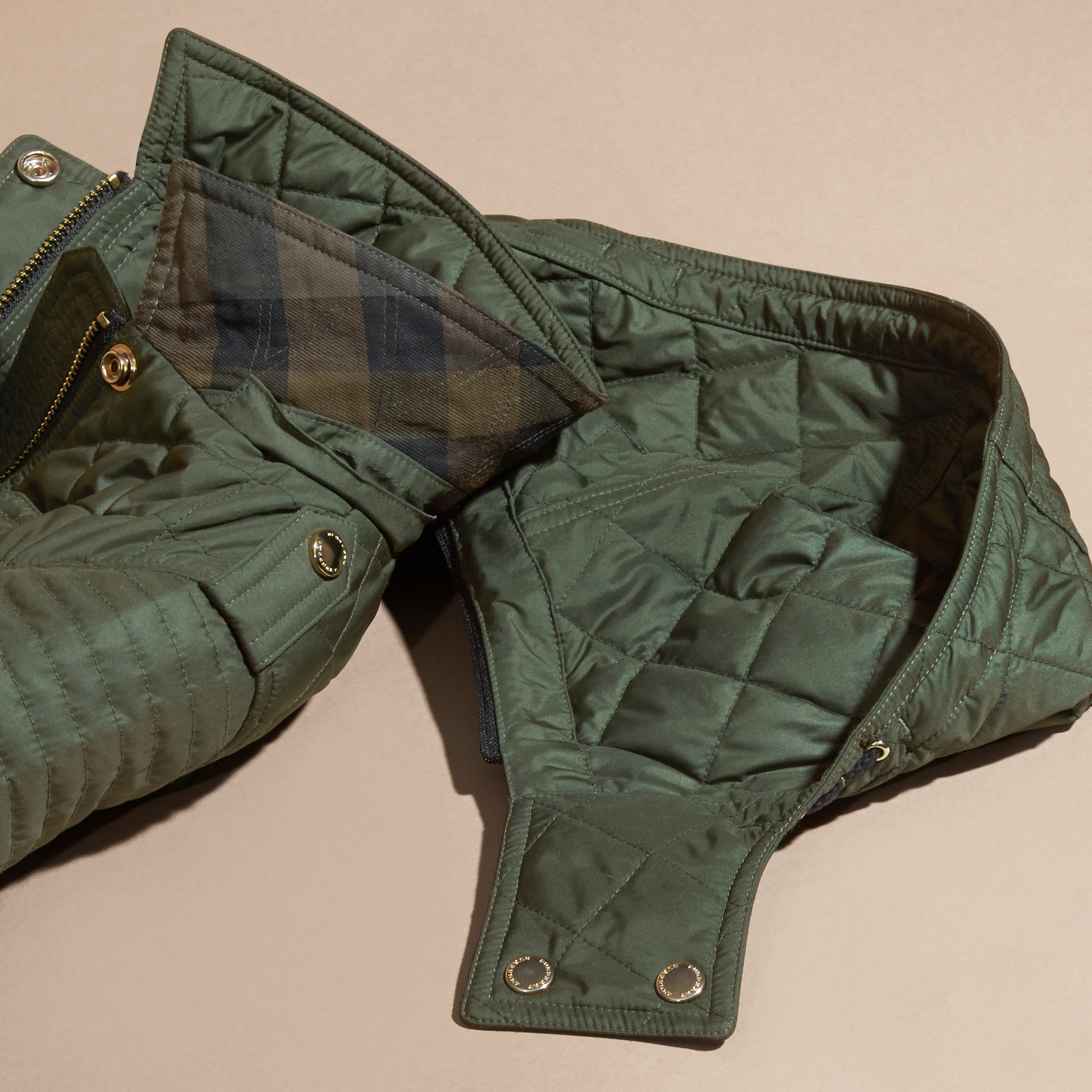 Olive Quilted Jacket with Detachable Hood - gallery image 2