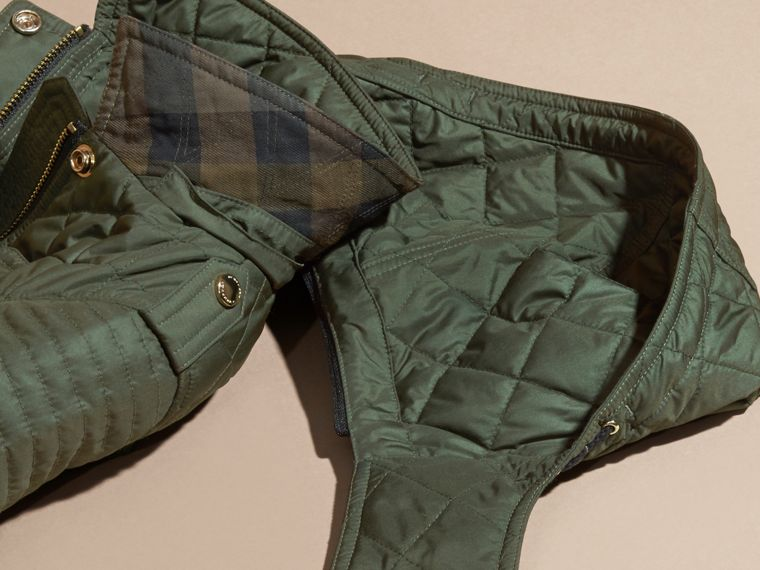 Olive Quilted Jacket with Detachable Hood - cell image 1