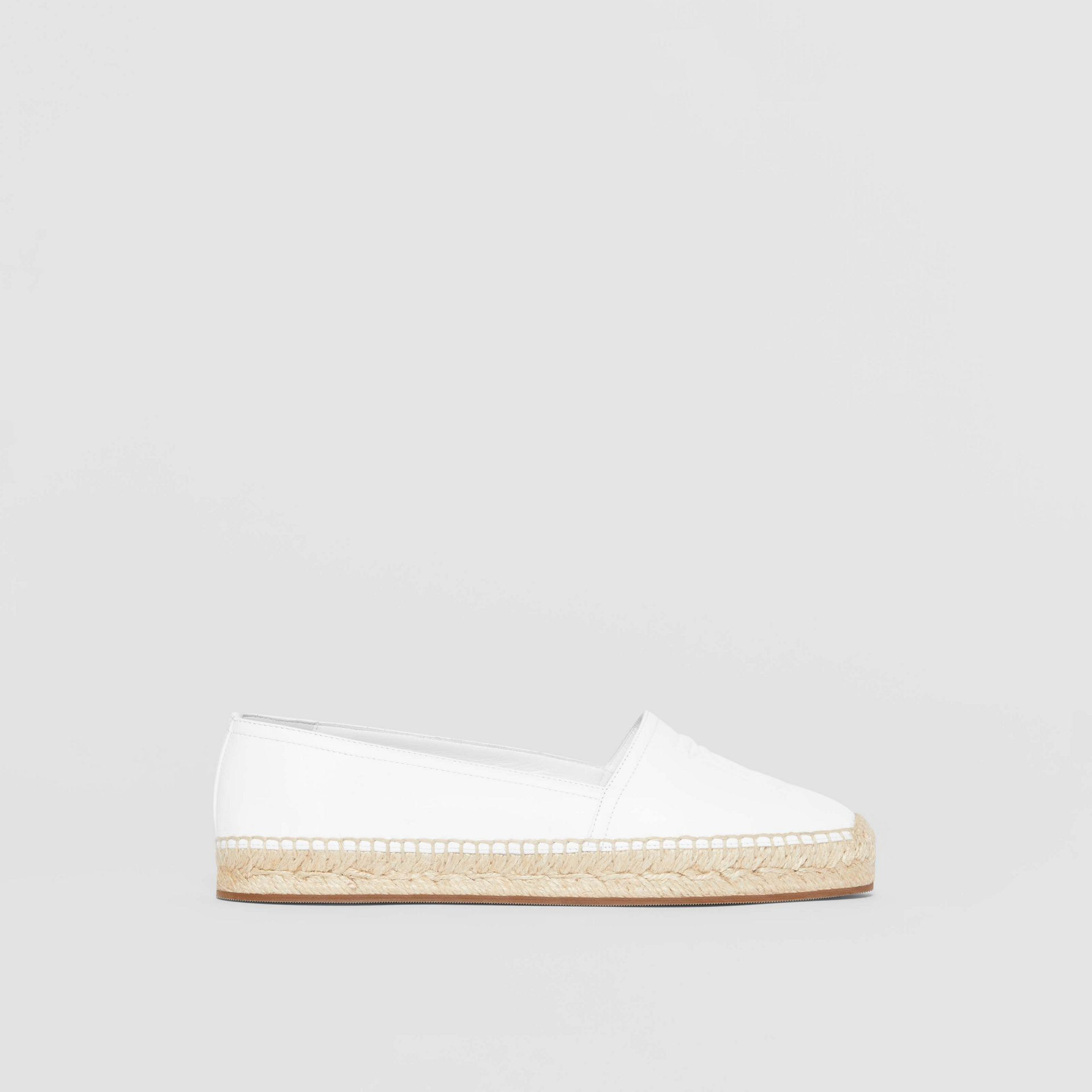 Monogram Motif Leather Espadrilles in White - Women | Burberry - gallery image 5