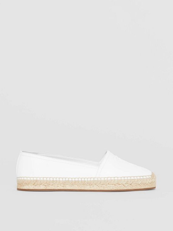 Monogram Motif Leather Espadrilles in White