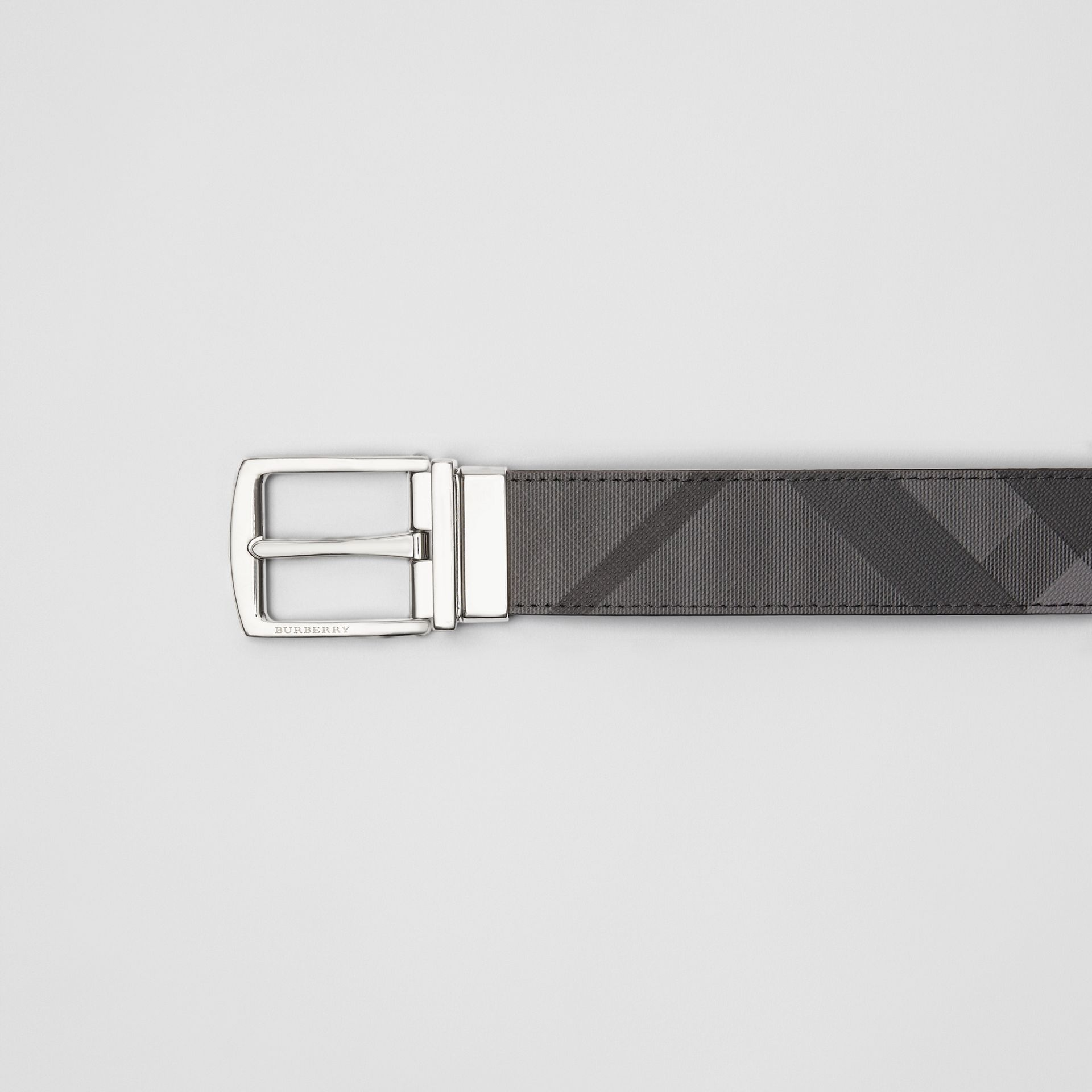 Reversible London Check and Leather Belt in Charcoal/black - Men | Burberry Canada - gallery image 1
