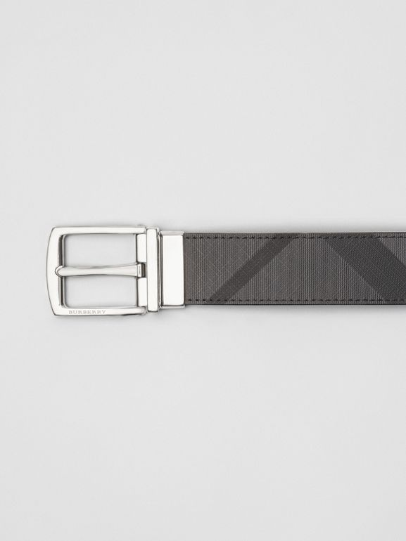 Reversible London Check and Leather Belt in Charcoal/black - Men | Burberry - cell image 1