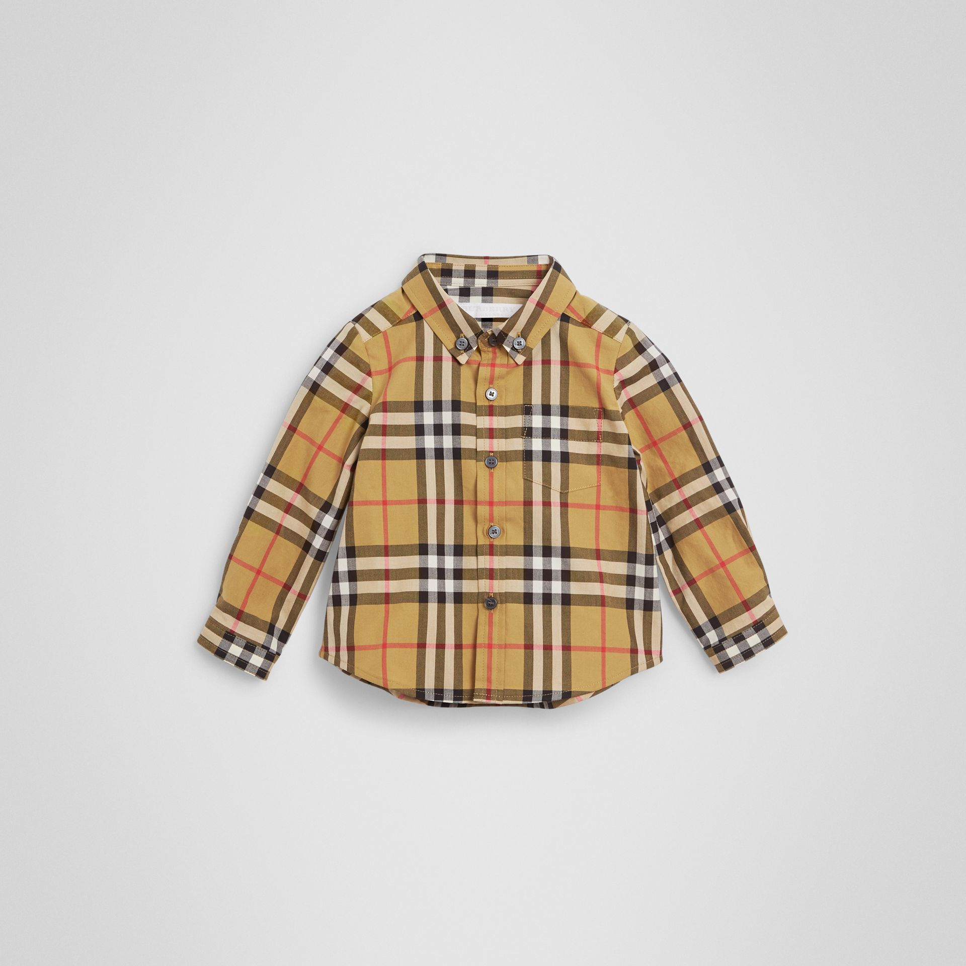 Button-down Collar Vintage Check Cotton Shirt in Antique Yellow - Children | Burberry - gallery image 0