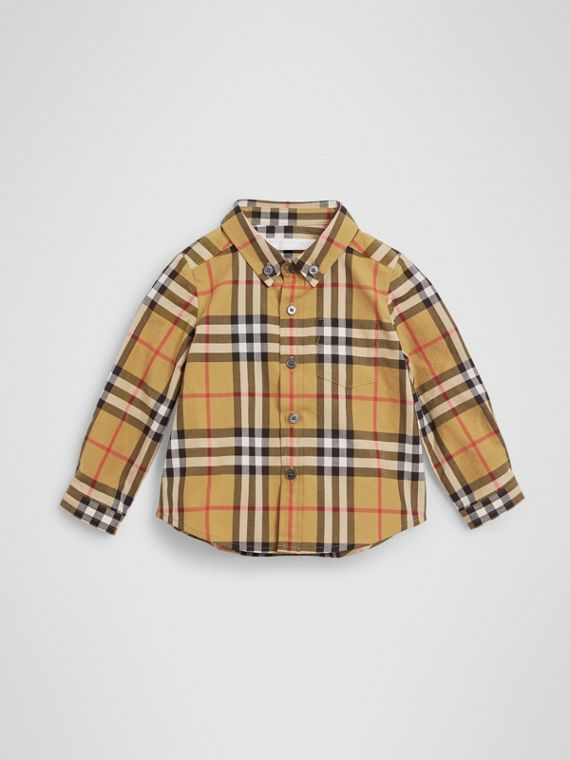 Button-down Collar Vintage Check Cotton Shirt in Antique Yellow