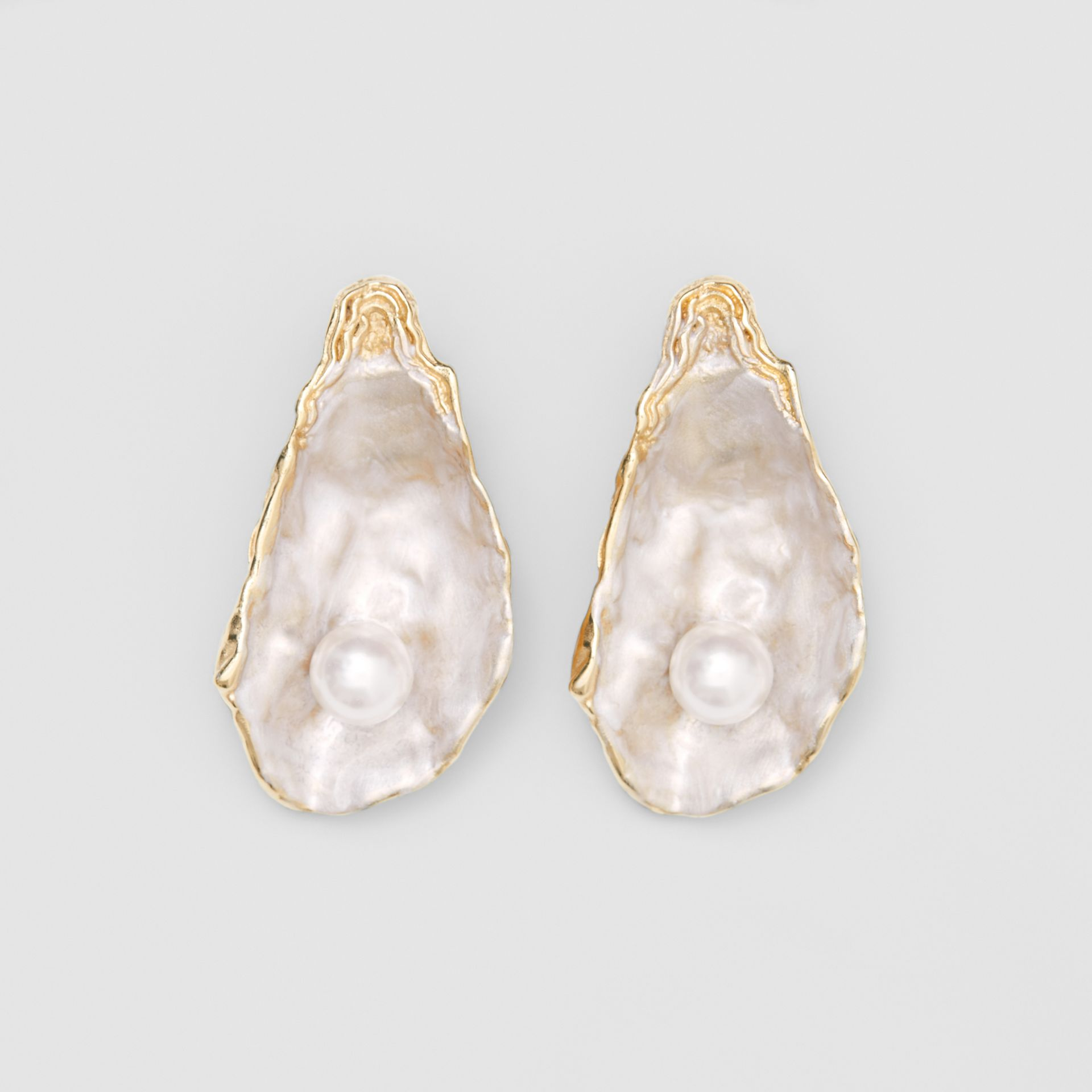 Faux Pearl Detail Gold-plated Oyster Earrings in Light  / - Women | Burberry United Kingdom - gallery image 0