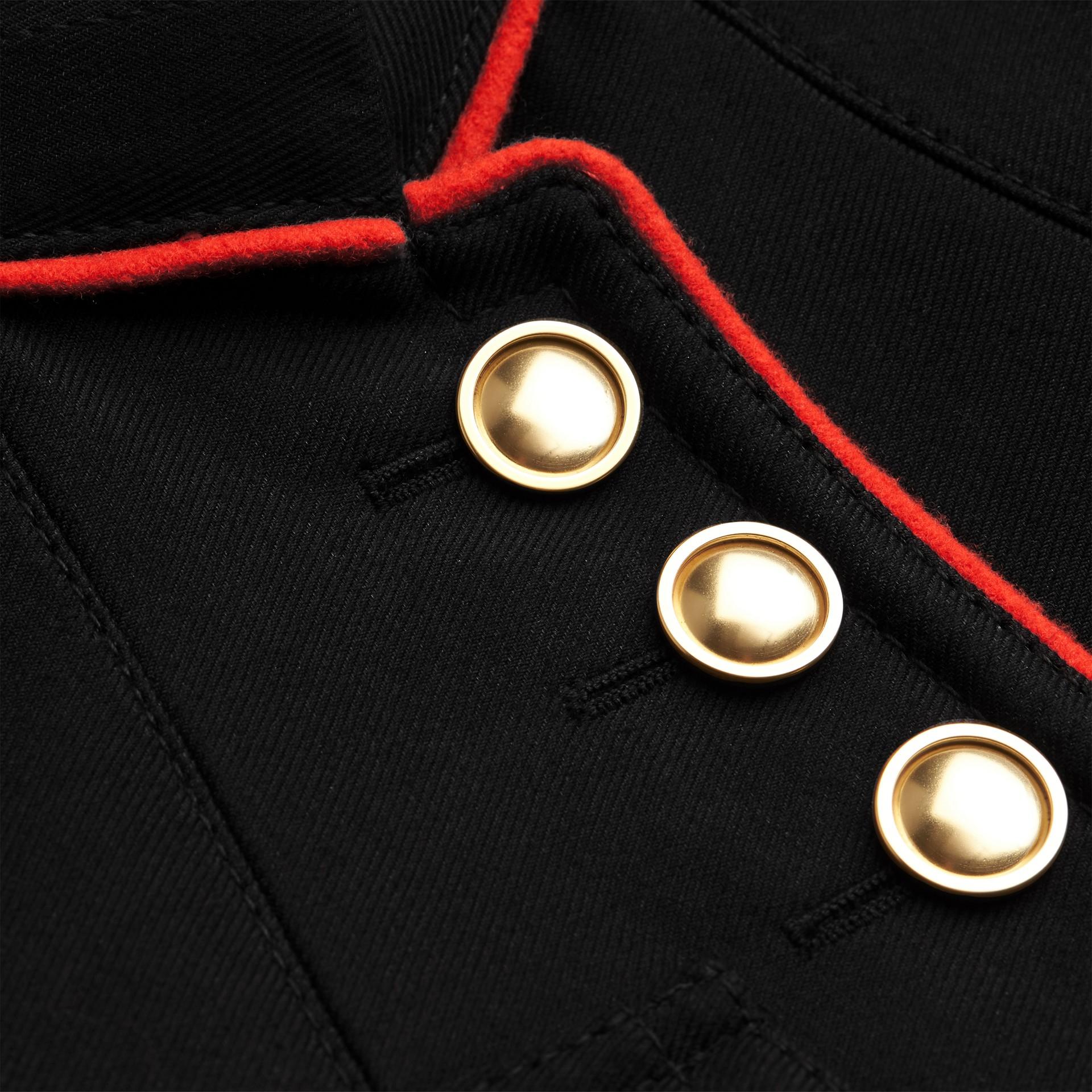 Navy Cotton Silk Regimental Jacket - gallery image 4