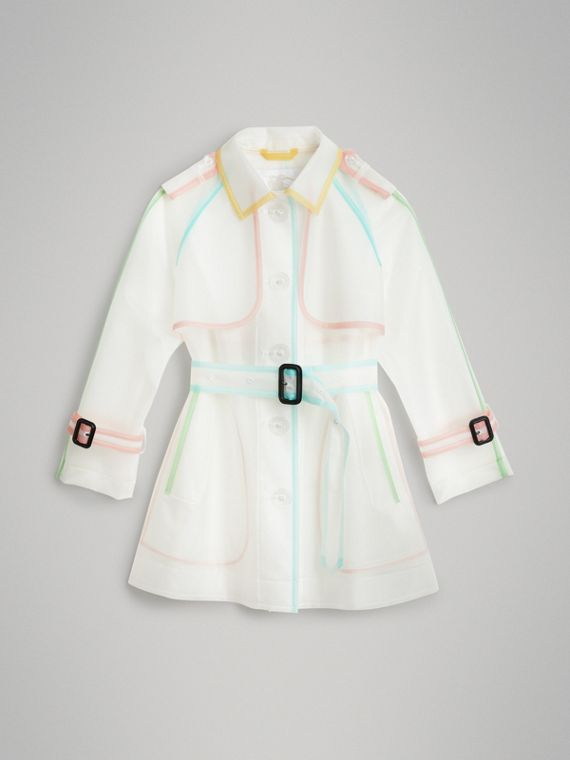 Showerproof Single-breasted Trench Coat in Clear