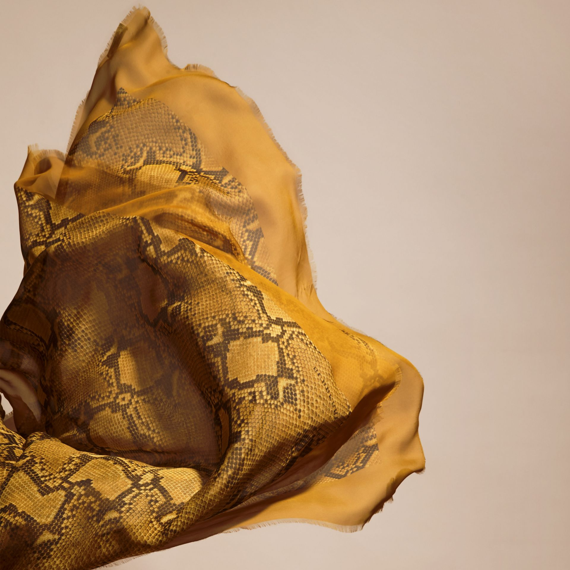Amber yellow Python Print Silk Scarf Amber Yellow - gallery image 4