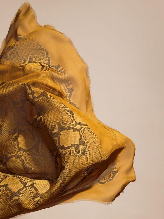 Amber yellow Python Print Silk Scarf Amber Yellow - cell image 3